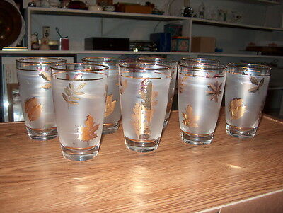 VINTAGE LIBBEY DRINKING GLASSES SET OF 8 FROSTED SIDES WITH GOLD LEAFSMARKED L