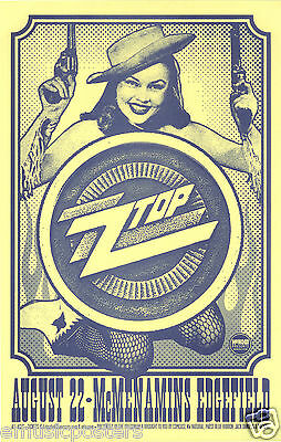 ZZ TOP 2012 PORTLAND CONCERT TOUR POSTER - Cute Cowgirl Holding Two Guns