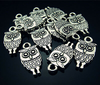 FREE Lot 20PCS Band rings Owl Tibetan silver Charms Findings Pendant Beads 18mm