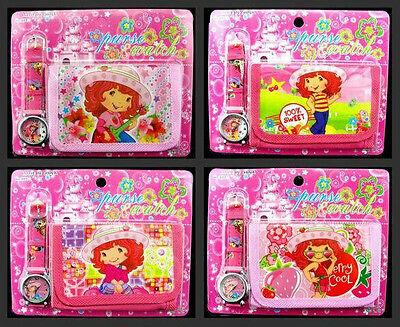 Lot 12 x Strawberry Girl Faux Leather Quartz Watch and Wallet Sets Children Part