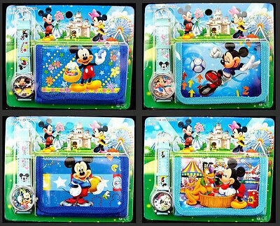 Lot 12 x Disney Mickey Faux Leather Quartz Watch and Wallet Sets Children Part