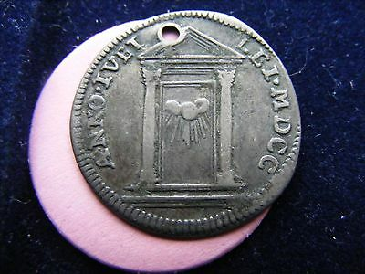 Papal States Innocent XII Memorial Medallion / grosso (?) 1700 RARE.  Holed fine