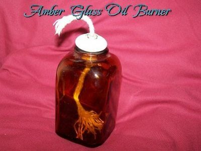Amber Bottle Oil Lamp ~ Glass ~ Porcelian Top with Wick Age Unknown