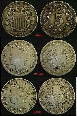 USA 5 Cents 5c Nickel 1866 to 1912 Choose Date supplied in coin wallet