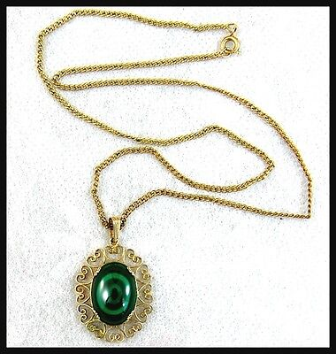 Lacey Signed SORRENTO 1-20 12K Gold Fill Green Malachite Pendant Necklace -