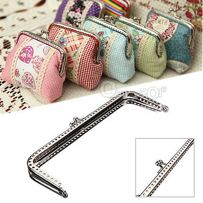 New Sewing Purse Handbag Silver Handle Coins Bags Metal Kiss Clasp Frame 15cm
