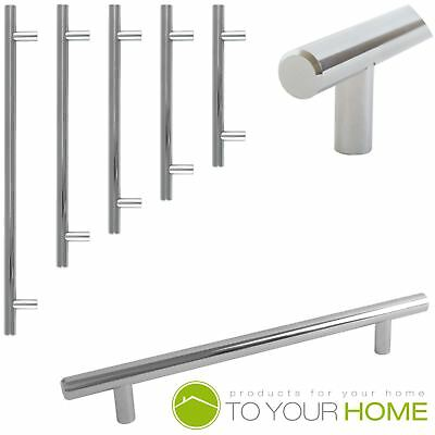 T Bar Solid Chrome Kitchen Cupboard Cabinet Drawer Door Handles 5 Sizes