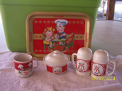 CAMPBELL SOUP COLLECTIBLE ITEMS-TRAY,SALT & PEPPER SHAKER SUGAR BOWL-MATCHING