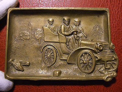 Art Nouveau old Hand cranking car large cast plaque to identify
