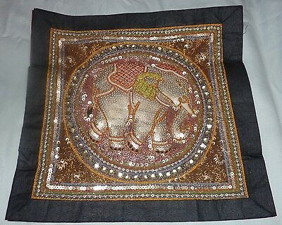 """Hand Made with Beads, Sequins ~ Kalaga Wall Tapestry ~  13.5"""" x 13.5"""" Elephant"""