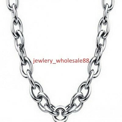 8mm 24'' Fashion Men's Jewelry Stainless Steel Polished Oval Link-chain Necklace