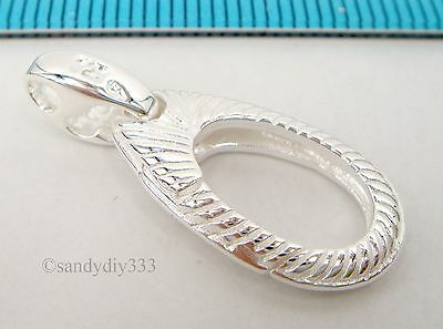 1x BRIGHT STERLING SILVER OVAL FLOWER LOBSTER CLASP BEAD 25.5mm #1976