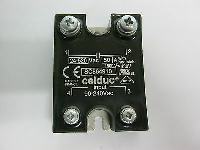 Celduc SC864910 Solid State Relay 90-240VAC Input, 24-520VAC 50A Output