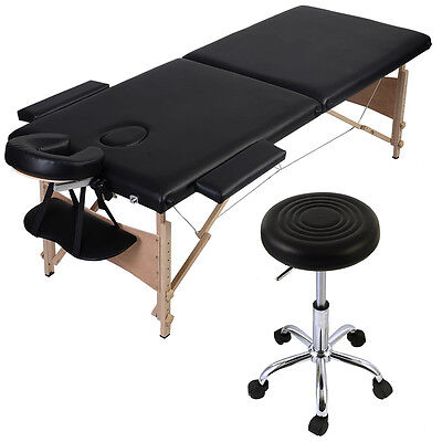 """Black 84""""L Portable Massage Table Facial SPA Bed + Hydraulic Rolling Stool Chair"""