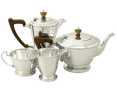 Antique George VI, Sterling Silver Four Piece Tea and Coffee Service - Art Deco
