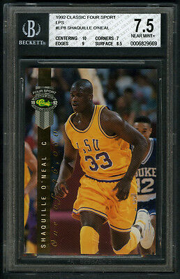 SHAQUILLE O'NEAL~LSU~1992 CLASSIC FOUR SPORT GOLD BGS-7.5 ROOKIE INSERT CARD#LP8