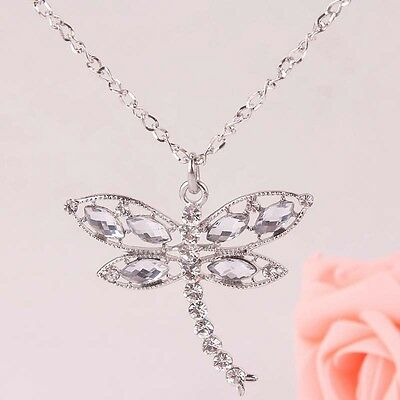 Fashion Women New charm alloy Austrian Crystal dragonfly Pendant Necklace B230