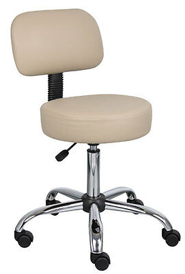 New! Commercial Beige Vinyl Medical Dental Tattoo Salon Stools Chairs With Back