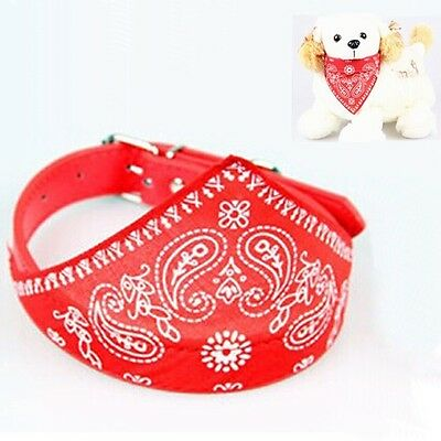 1 PC Dog Bandanna Scarf with Leather Collar Paisley Pattern Red Size M