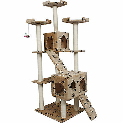 """New 73"""" Cat Tree Condo Furniture Scratch Post Pet House Beige Paws"""
