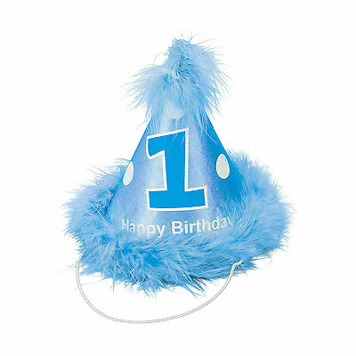 Baby Boy Blue 1st Birthday Child Party Cone Hat Feathers First Momento Fun 15/45