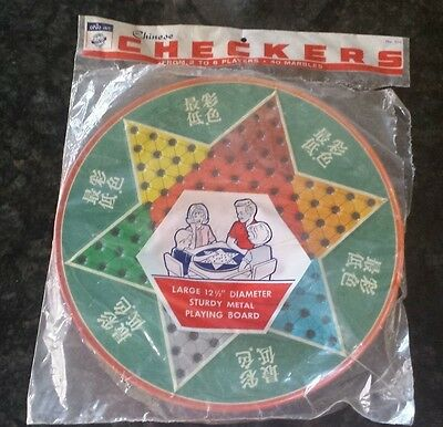 Vtg Retro Metal Tin Ohio Art Game Board Tray Chinese Checkers Chess Marbles