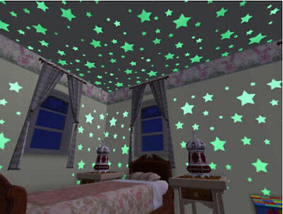 Hot Glow In The Dark Plastic Stars Stickers Baby Kids Ceiling Wall Room 100PCS