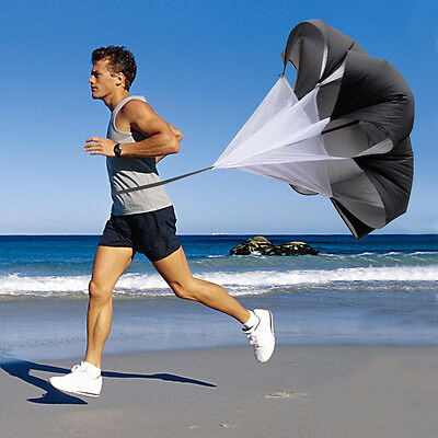 "56"" Speed Resistance Training Parachute Running Chute Football Exercise Black"