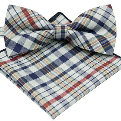 *brand New* Blue Gray And Multi-Color Check Mens Bow Tie Pocket Square Set B1100
