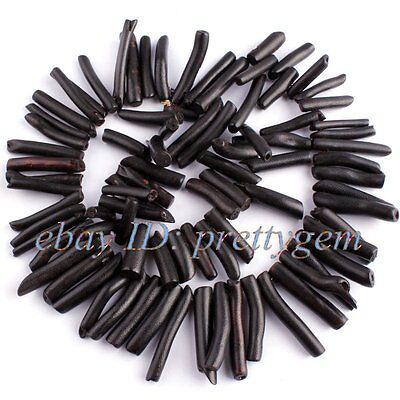 5x15MM-7X30MM STICK BLACK CORAL GEMSTONE LOOSE JEWELRY MAKING BEADS STRAND 15""