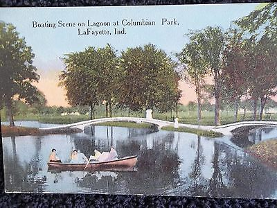 Early 1900's Boating on Lagoon Columbian Park LaFayette, In Indiana PC