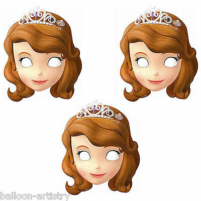 6 Disney's Sofia The First Princess Birthday Party Cute Paper Face Masks