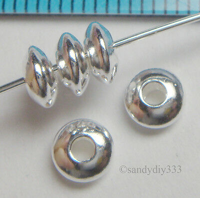 10x STERLING SILVER SEAMLESS PLAIN SAUCER SPACER BEADS 5mm N272