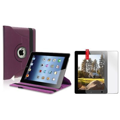 Purple 360 Swivel Leather Case Cover+Clear LCD Protector Film For iPad 4 4G