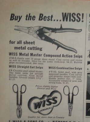 1952 Wiss Action Cut and Combination Snips Vintage Original Print Ad