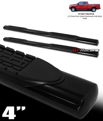 """FOR 2004-2008 FORD F150 SUPER CAB 4"""" OVAL BLK SIDE STEP NERF BARS running boards"""