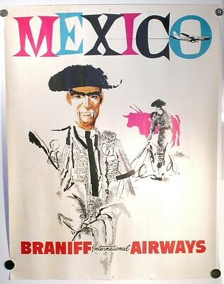 """Vintage Braniff International Airways Mexico Travel Poster Airlines 20"""" X 26"""""""