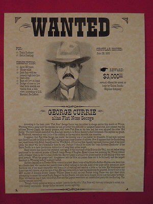 Flat Nose George (George Currie) Wanted Poster REPRODUCTION