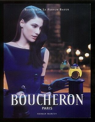 1999 Boucheron perfume bottle & pretty woman photo vintage print ad