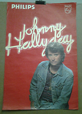Affiche Ancienne Johnny Hallyday  Photo Bernard Leloup Disques Philips