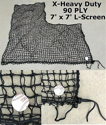 Heavy Duty Replacement L-Screen 7' x 7' 60PLY Batting Cage Baseball Pitching Net