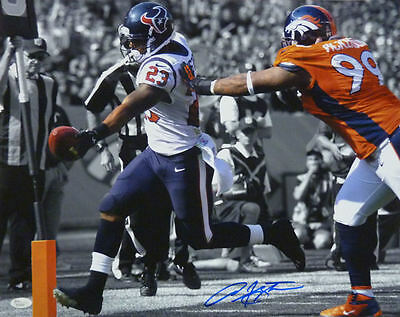 ARIAN FOSTER AUTOGRAPHED/SIGNED HOUSTON TEXANS 16X20 PHOTO (VS BRONCOS) w/JSA