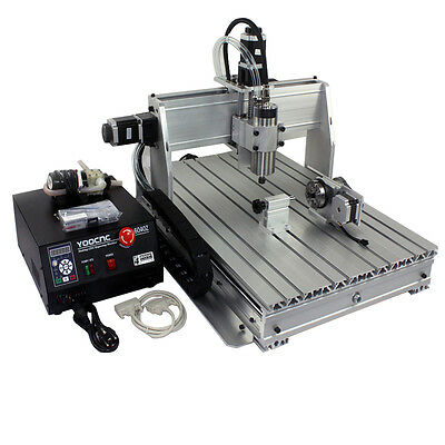 4-axis CNC 6040 1.5KW spindle with ballscrew tailstock cnc router machine