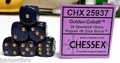 CHESSEX 12mm SPECKLED DICE BACK IN STOCK - GOLDEN COBALT w/GOLD PIPS! SMALL SIZE