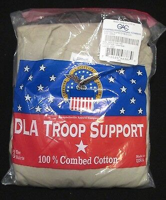 DLA Troop Support 3 Pack Tee Shirts Color Sand Size LARGE Brand New In Package