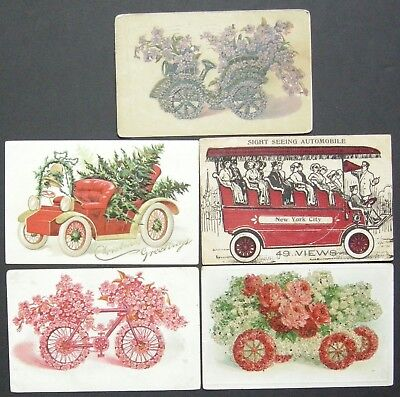Usa Early 1900's 13 Automobile Postcards Used & Unused Various Publishers