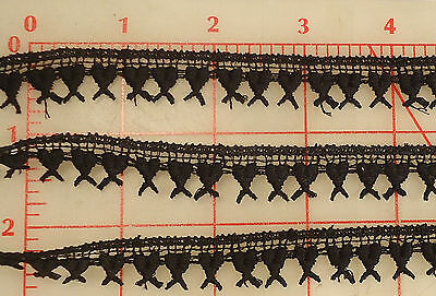 "36 yards vintage black embroidered heart trim 5/8"" 16mm lace"