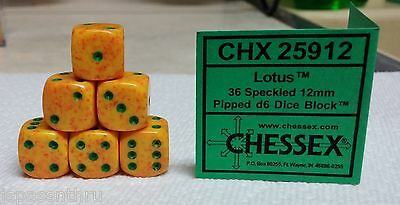 CHESSEX 12mm SPECKLED DICE BACK IN STOCK - LOTUS w/GREEN PIPS! NICE SMALL SIZE!