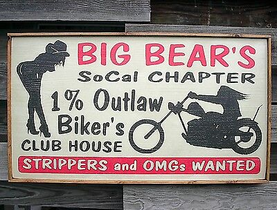 """PERSONALIZED OUTLAW MOTORCYCLE GANG BIKER STRIPPER CLUB HOUSE WOOD SIGN 37""""x21"""""""