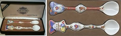 2 porcelain spoon in Box   Olympic Games SEOUL 1988 / present for IOC Members !!